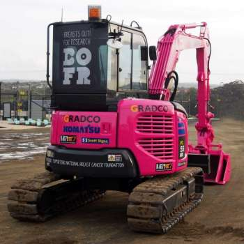 Gradco digger goes pink to support Breast Cancer Awareness during October